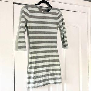 Mint Green & Gray Stripe Bodycon Mini Dress XS 2